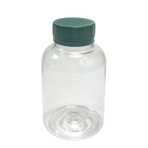 Pote-Para-Capsulas-Pet-200ml-cristal-com-tampa-verde